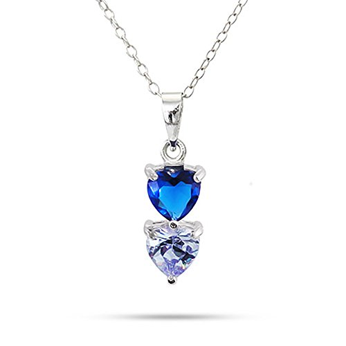 (Sterling Silver Personalized 2 Stone Custom Simulated Birthstone Heart Drop Pendant Necklace, 16