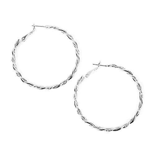 Lightweight Geometric Statement Hoop Earrings - Classic Thin Wire Delicate Curved Threader Dangles Round, Pear, Horseshoe (Twisted Rope - Silver Medium) ()