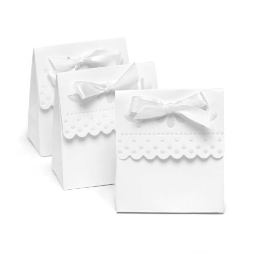 Satin Scalloped Design (Hortense B. Hewitt Wedding Accessories Favor Boxes, White with Scalloped Edges, 25 Count)