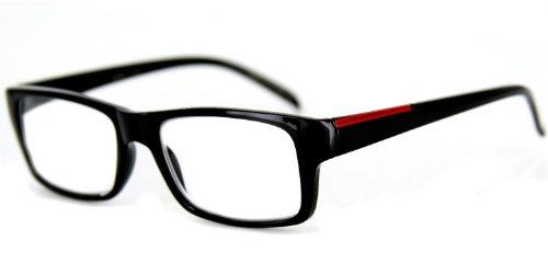 Prodigy Fashion Reading Glasses with Square Italian Design Youthful, Stylish Men and Women (Solid Black - Glasses Red Framed Square