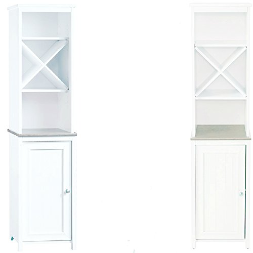 White Linen Tower Cabinet with Open Shelves and Hidden Storage Narrow Tall Wooden Bathroom Toilet Cabinet Storage Modern Laundry Room Organizer Free Standing Unit eBook by Easy&FunDeals