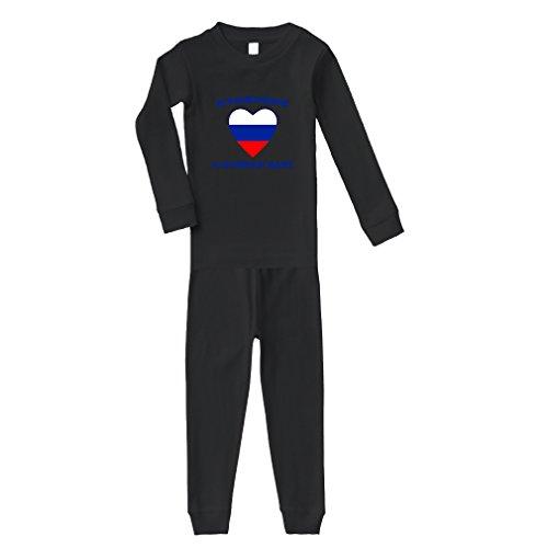 Everyone Loves Russian Cotton Long Sleeve Crewneck Unisex Infant Sleepwear Pajama 2 Pcs Set Top and Pant - Black, 12 (Black Russian Pants)