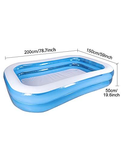 """31bw0koWXRS Tamaño familiar: El tamaño de esta piscinas hinchables es 200 X 150 X 50 cm=78.7"""" X 59"""" X 19.7""""Adecuado para 2-3 niños para tener su propia piscina niños familiar para este verano y disfrutar de una fiesta en la piscina infantil en su ¡¡patio interior!! Alta calidad y resistente al desgaste: Esta piscina niños está hecha con material de PVC de alta resistencia, resistente y agradable para la piel, protección del medio ambiente y no tóxico, resistente al desgaste y esta piscina hinchable infantil es 80% más gruesa que la mayoría de sus competidores en el mercado,reduciendo el riesgo de pinchazos para una larga vida útil y seguridad reforzada. Diseño antifugas y duradero: Válvula antifugas, diseño multicapa y material de sellado de alta calidad para garantizar que estas piscina infantil eviten fugas de aire y agua.Puede evitar eficazmente el daño de productos afilados, que es perfecto para uso en jardines o exteriores."""