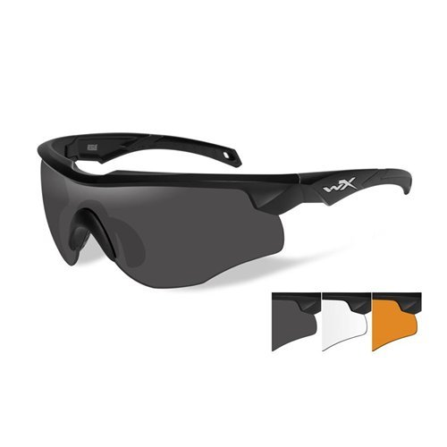 Wiley X 2802 Rogue Changeable Sunglasses Clear Light Rust Lenses, Black