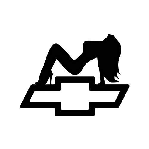 Silouette Girl (Sexy Girl Silhouette with Chevy Emblem Decal (Choose Size and Color) 020)