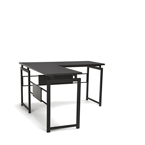 OFM L-Shaped Desk - Corner Computer Desk with Metal Legs, Black (ESS-1020-BLK) by Essentials by OFM