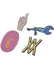 WIESEMANN 1893 Gereedschap pin-opsteekset 4-delig I Vintage emaille broches met gereedschapsmotieven voor ambachtslieden en makers I gekruiste vingers, WIESEMANN logo, Mrs. Wiesemann, steeksleutel I 10090