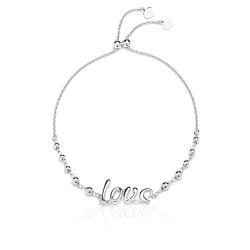Sterling Silver Adjustable Love Bracelet with Beads, for Women and Girls, Expandable 9 Inch