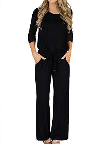 MIHOLL Women's Plus Size Jumpsuits Casual Loose Long Pants Jumpsuit Rompers (Black, X-Large)