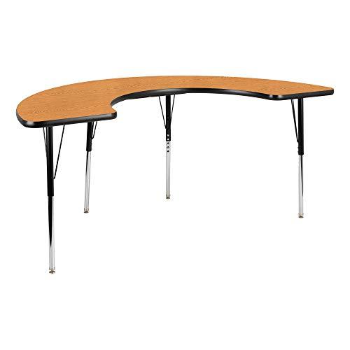 Half-Moon Adjustable Height School Classroom Activity Table - Oak Top/Black Edge