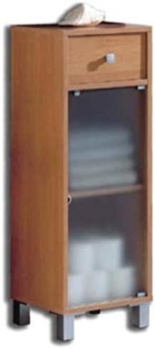 Armario bajo para baño o Aseo con Cajon y Puerta de Cristal con Estante Color Cerezo