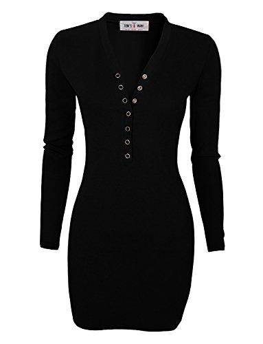 Tom's Ware Women Casual Slim Fit V Neck Snap Button Bodycon Mini Dress