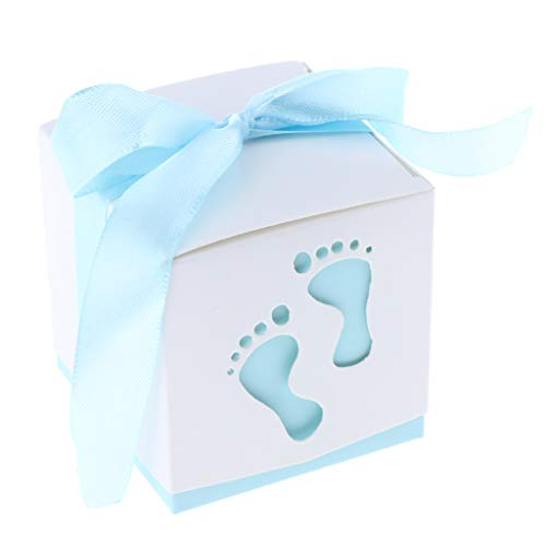 - Prettyia Pack of 50 Lovely Baby Footprints Candy Boxes Baby Shower Birthday Christening Party Gift Favor - Light Blue, 6 x 6 x 6 cm