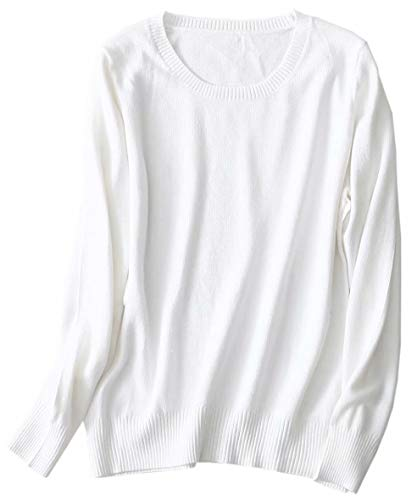 SANGTREE Women's Long Sleeve Crewneck Plain Basic Cashmere Pullover Knit Sweater, White, Tag 2XL =US M (8-10)