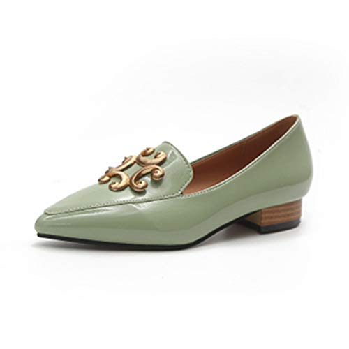 Owen Moll Women Flats, Pointed Toe Slip-On Metal Low Heels Patent Leather Loafers ()