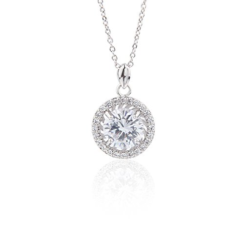 Jardme Mother's Day Round Crystal Halo Pendant Necklace White Crystal Halo Pendant Brilliant Cut Simulated Diamond CZ Sterling silver Chain with A Gift Box (White) (Brilliant Cut Designer Necklace)