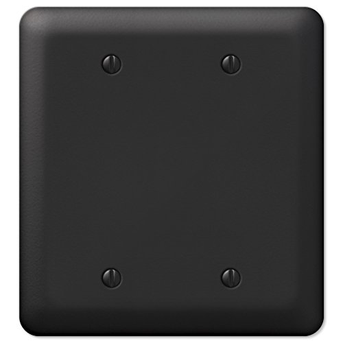 Black Metal Double Blank Wall Plate Cover Enamel Finish