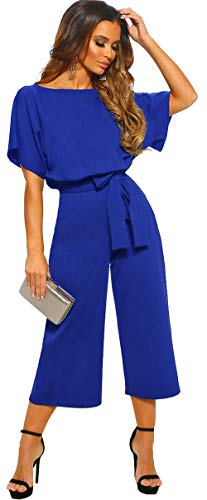 Colorful Blue Leopard - Longwu Women's Elegant High Waist Short Sleeve Jumpsuit Casual Wide Leg Pants Loose Rompers with Belt Royal Blue-M