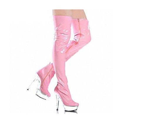 Top Totty Extreme Fashion High Heel-Partei-Verein Abnutzung Stiefel Sexy Patent Lace-up-Plattform Fetisch Latex Stiefel