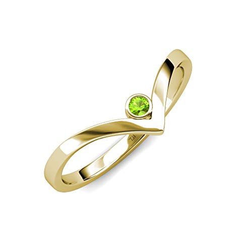 TriJewels Round Peridot Womens Solitaire Bezel Set Chevron Promise Ring 0.12 ct 14K Yellow Gold.size 7.75 ()