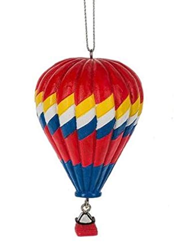 On Holiday Hot Air Balloon Red with Blue, Yellow, White Stripe Christmas Tree Ornament