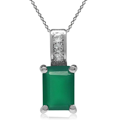 (Natural Emerald Green Agate & White Topaz 925 Sterling Silver Slide Pendant w/18 Inch Chain Necklace)