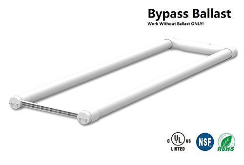 4-Pack Direct Wire Bypass Ballast U Bent LED Tube, Work Without Ballast, Type B, 15W(32W or 40W Equivalent), Frosted, Glass, Siingle End Power, UL Listed & DLC Listed - Without Glasses Power