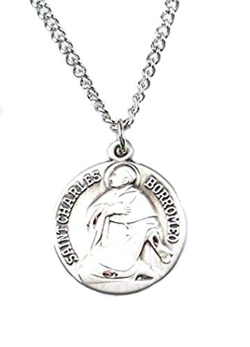 Saint Charles Borromeo Medals - Patron and Protector Medals Pewter Saint St Charles Borromeo Dime Size Medal Pendant, 3/4 Inch