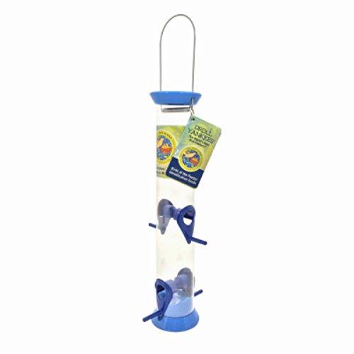 (Droll Yankees Bird Feeder, Hanging Tube Songbird Feeder, Just Feed Birds JFB-S15B, 15 Inch, 4 Ports, Blue)