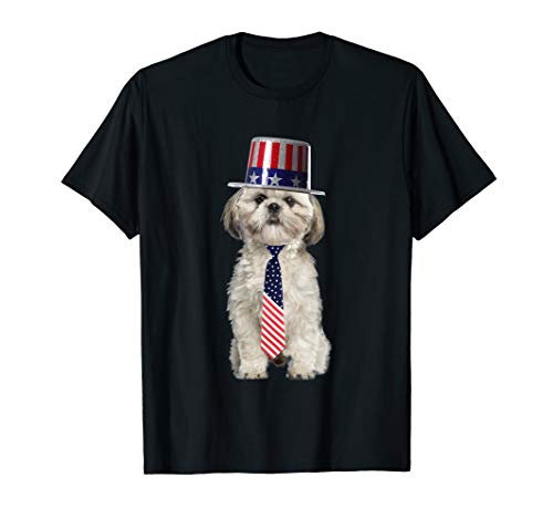 Shih Tzu 4th Of July Dog In Top Hat and Tie T-Shirt