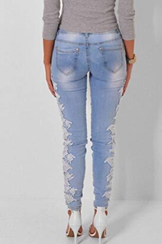 Bleu Serr Taille Pantalon Long Jeans Haute vider Simgahuva Pantalon Femmes Dentelle axW6fFv
