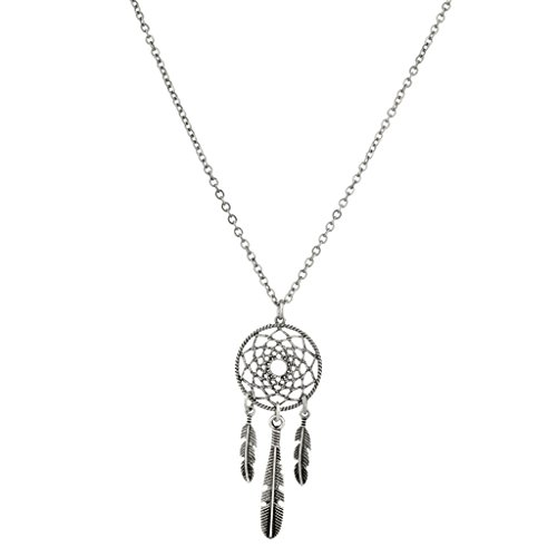 Lux Accessories Tribal Dreamcatcher Leaf Pendant Necklace.