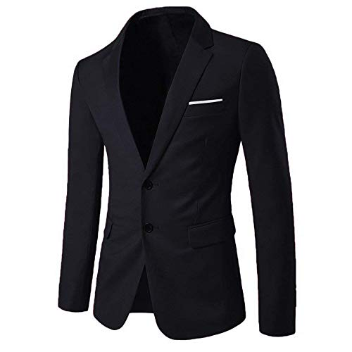 WEEN CHARM Mens Blazer Jacket Slim Fit Casual Two Button Solid Suit Separate Jacket Black