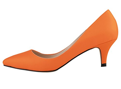 Kitten orange Heel pu Pointed Closed Low Slip On Dress Toe soft Pumps Women's qXg6vBx