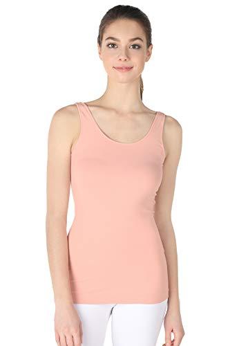 Nikibiki Women's Wide Strap Long Tank Top, One Size (Rose Quartz)