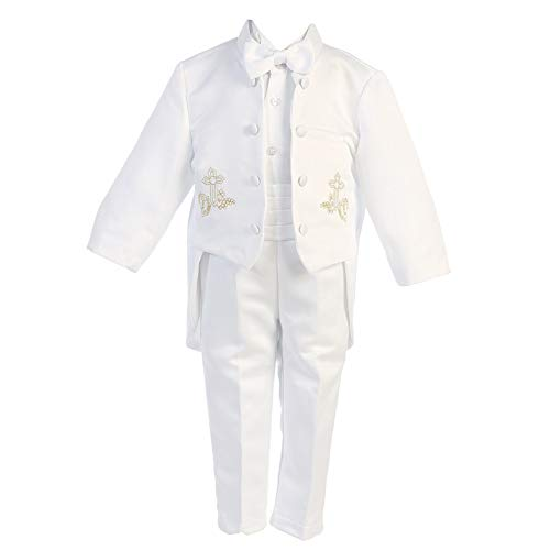 Angels Garment Baby Boys White 5 Pcs Gold Embroidered Tuxedo 6-12M from Angels Garment
