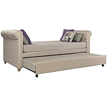 Incroyable DHP Sophia Upholstered Daybed And Trundle, Classic Design, Twin Size, Tan
