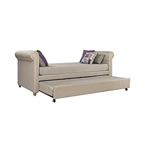 dhp sophia upholstered daybed and trundle classic design twin size tan