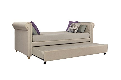DHP Sophia Upholstered Daybed and Trundle, Classic Design, Twin Size, Tan