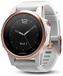 Garmin f nix 5s, Premium and Rugged Smaller-Sized Multisport GPS Smartwatch, Sapphire Glass, Rose Gold White