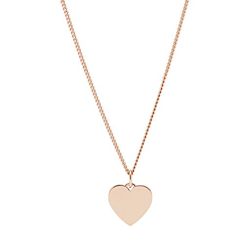 Fossil Women's Heart Rose Gold-Tone Stainless Steel Necklace, One Size