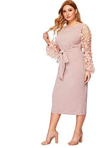 SheIn Women's Plus Size Elegant Mesh Contrast Pearl Beading Sleeve Stretchy Bodycon Pencil Dress Pink 0X-Large