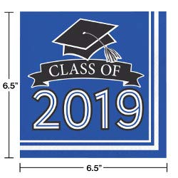 Class of 2019 Graduation School Spirit Colbalt Blue, Black & White Party Tableware & Decorations for 36 Guests by Party Creations (Image #3)