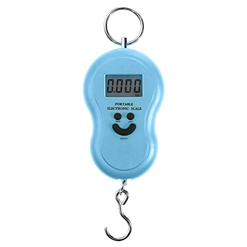 Alamana 50Kg/10g Mini Digital Smile Face Pattern Backlight Hanging Scale Luggage Bag Weight Tool Blue by Alamana (Image #1)