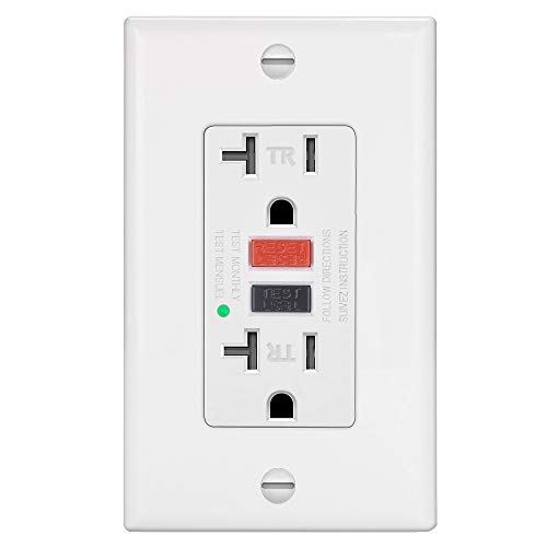 ELECTECK GFCI Outlet Receptacle with LED Indicator, 20A/125V/2500W, Tamper-Resistant (TR), Decor Wall Plate and Screws Included, ETL Certified, White