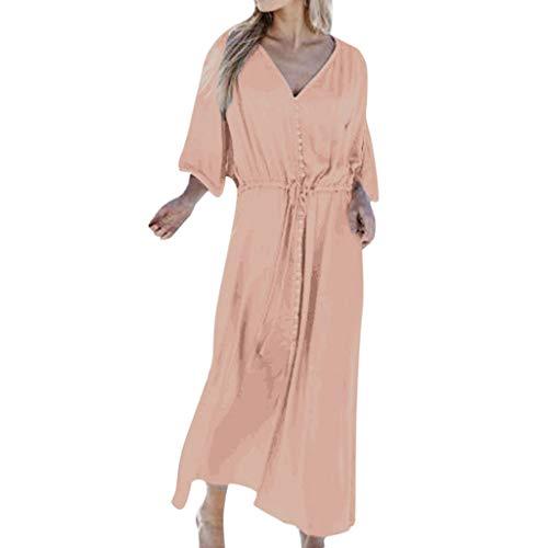 TANGSen Women Solid Color Casual Dress Plus Size Loose Summer Dress V Neck Loose Fashion Button Long Dress - Yoke Alloy Usa