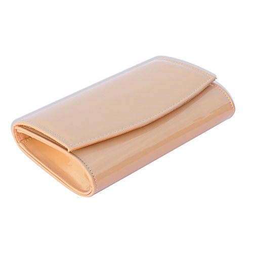 Women Patent Leather Wallets Fashion Clutch Purses,WALLYN'S Evening Bag Handbag Solid Color (New lightbrown) by WALLYN'S (Image #4)