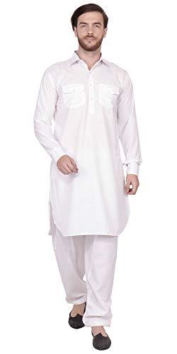 SKAVIJ Men's Tunic Cotton Pathani Kurta Pajama Set (Medium, White)