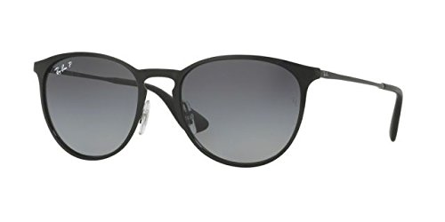 Ray-Ban Erika Metal Polarized Round Sunglasses, Shiny Black, 54 - Black Ban Ray Erika