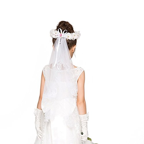 Frcolor First Communion Veil with Beaded Flower Crown Floral Wreath Wedding Veil White ()